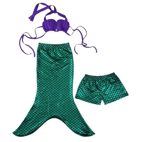 Wenchoice Little Girls Green Mermaid Tail Top Shorts 3 Pc Swim Set