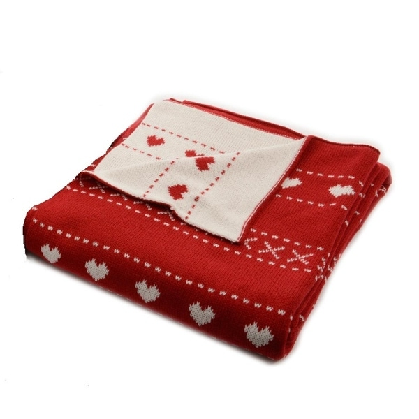 """Alpine Chic Red with White Heart Pattern Knitted Christmas Throw Blanket 50"""" x 60"""""""
