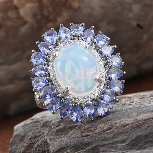 Blue Opal Ring Natural October Birthstone, Blue Opal .80ct Platinum Finish Solid 925 Sterling Silver Ring Oval Cabochon Ring Size 8