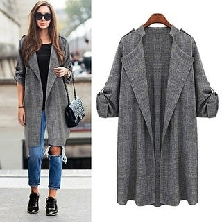 Women Open Front Trench Cardigan Jacket Loose Long Coat Top Ovecoat