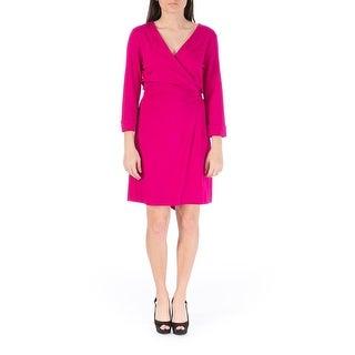 Diane Von Furstenberg Womens New Julian Two Mini Jersey 3/4 Sleeves Wrap Dress - 14