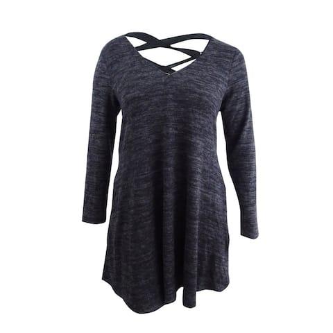 BCX Women's Trendy Plus Size Lace-Up-Back Dress (1X, Black Monotone) - Black Monotone - 1X