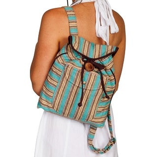 Scully Handbag Womens Stripe Backpack Snap One Size Turquoise C10 - One size