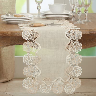 Lace Table Runner With Rose Border Design