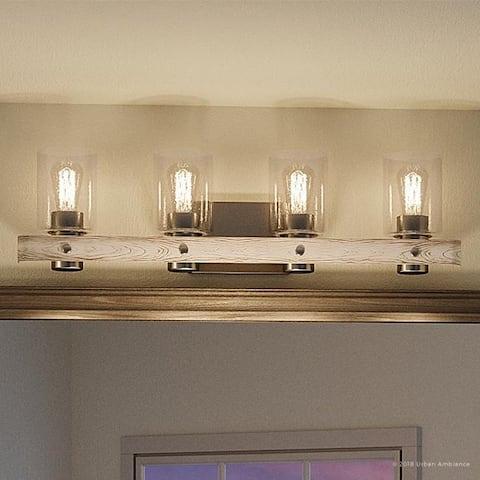 "Luxury Modern Farmhouse Bathroom Vanity Light, 8.5""H x 32.875""W, with Rustic Style, Galvanized Steel Finish by Urban Ambiance"