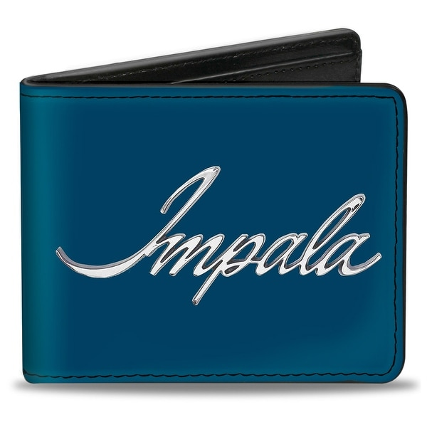 Impala Script Emblem Blue Silver Bi Fold Wallet - One Size Fits most