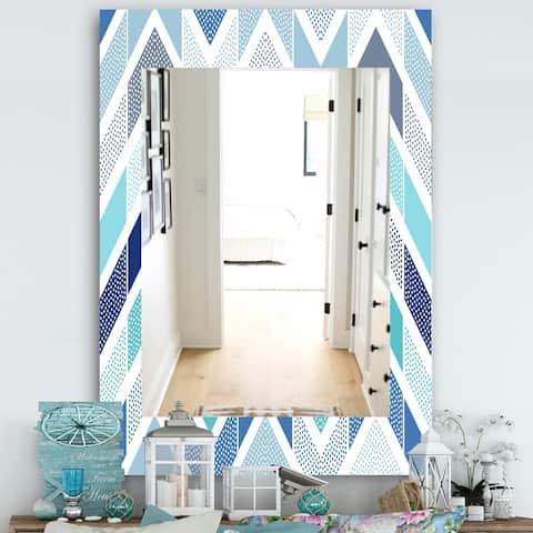 Porch & Den 'Retro Dotted Blue Wave Pattern' Mirror