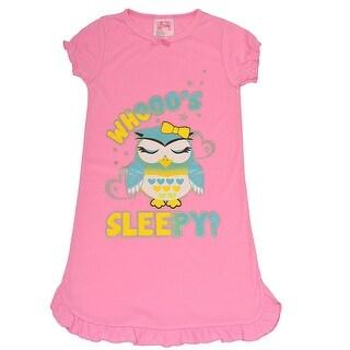"Sweet n Sassy Girls Light Pink ""Whooo's Sleepy?"" Owl Print Nightgown"