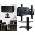 2xhome - NEW TV Wall Mount Bracket (Single Arm) & Double Shelf Package - Secure Cantilever LED LCD Plasma Smart 3D WiFi - Thumbnail 0