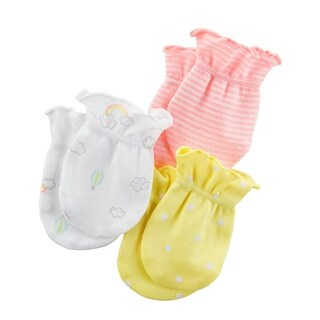 Carter's Baby Girls' 3-Pack Scratch Mittens Set- Multi- 0-3 Months