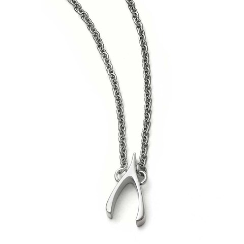 Chisel Stainless Steel Polished Wishbone Necklace - 15.75 in