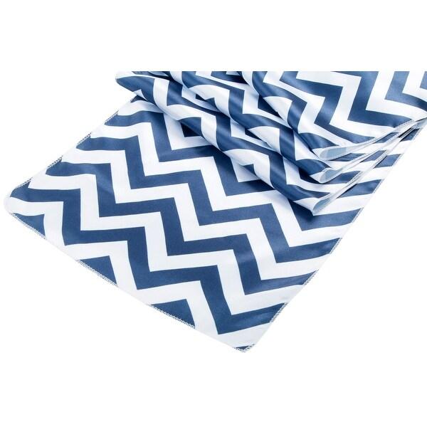 "Chevron Satin Table Runner 100% polyester Approx. 13""x108"" - Navy Blue, 1 Piece"