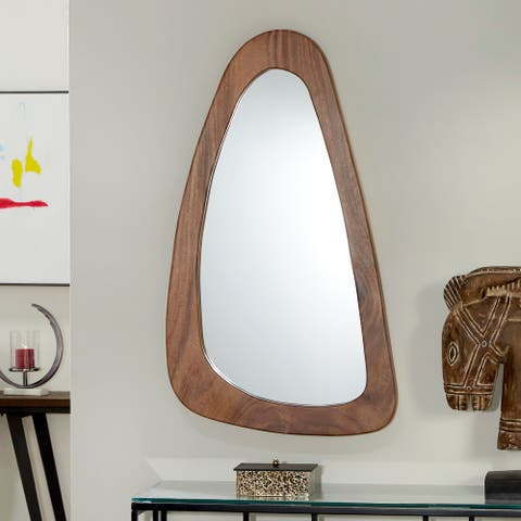 """Rounded Triangle Natural Wood Mirror, 26"""" x 42"""" - 42 x 2 x 25"""