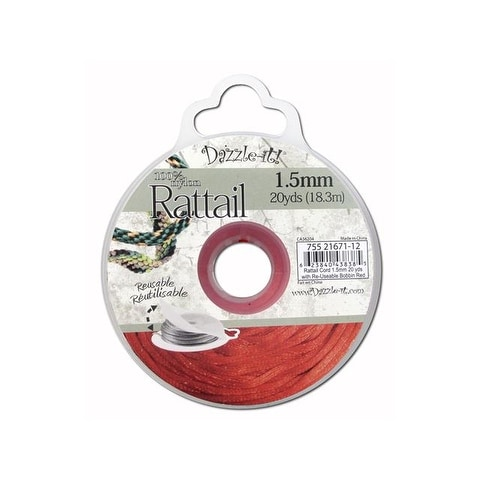 Dazzle It Rattail Cord 1.5mm 20yd Red