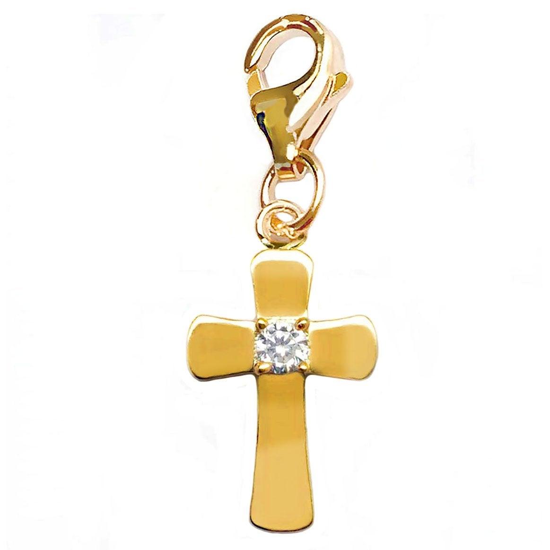 Julieta Jewelry Bold Cross CZ Clip-On Charm - Thumbnail 0