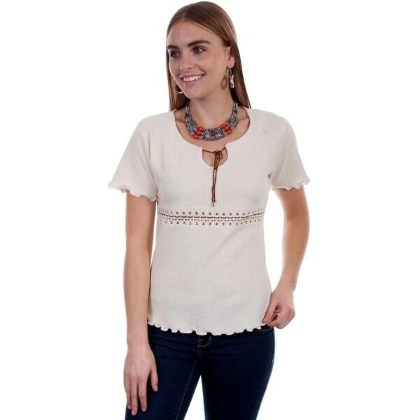 6793c2015d Shop Scully Western Shirt Womens Cap Sleeve Cantina Crochet Tie ...