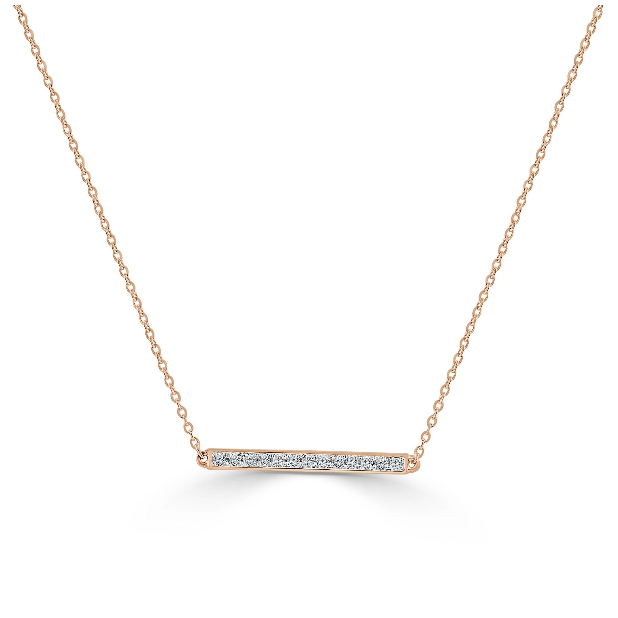 10 carat diamond 14k white gold chain bar necklace gift for Christmas birthday Diamond bar necklace 14k gold handmade design genuine