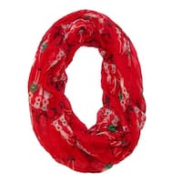 David & Young Women's Christmas Reindeer Holiday Infinity Loop Scarf - One size