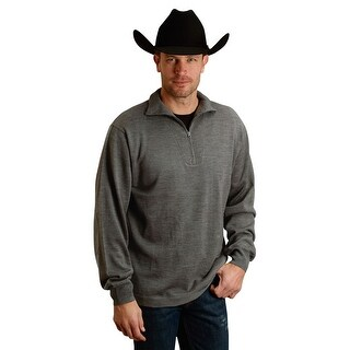 Stetson Western Sweater Mens L/S 1/4 Zip Gray 11-014-0120-0682 GY