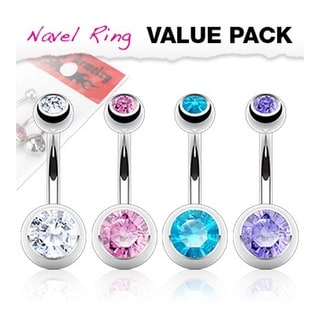 4 Pcs Pack Clear, Pink, Aqua, and Tanzanite Stainless Steel Double Gem Ball Navel Belly Button Ring