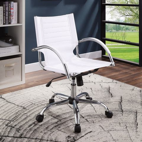 Furniture of America Xima Contemporary Faux Leather Office Chair, Black