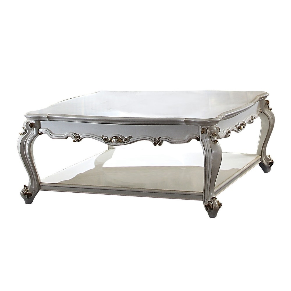 OverstockTraditional Scalloped Top Coffee Table with Queen ...