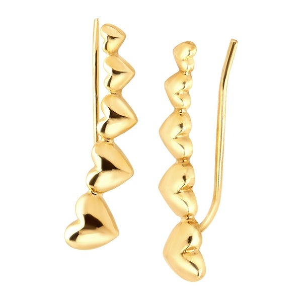 Eternity Gold Graduating Heart Ear Climber Earrings in 10K Gold - YELLOW