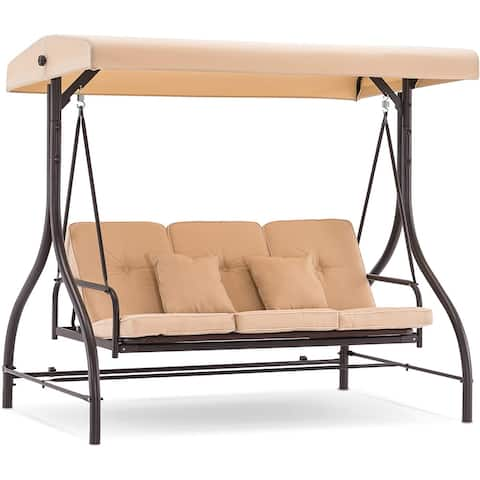 MCombo 3-Seat Outdoor Patio Swing Chair, Adjustable Backrest and Canopy, Porch Swing Glider Chair, w/Cushions and Pillows, 4068