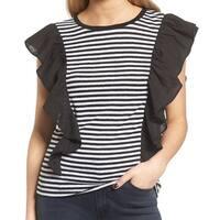 Chelsea28 Black Ruffle Striped Women's Size Small S Flutter Blouse