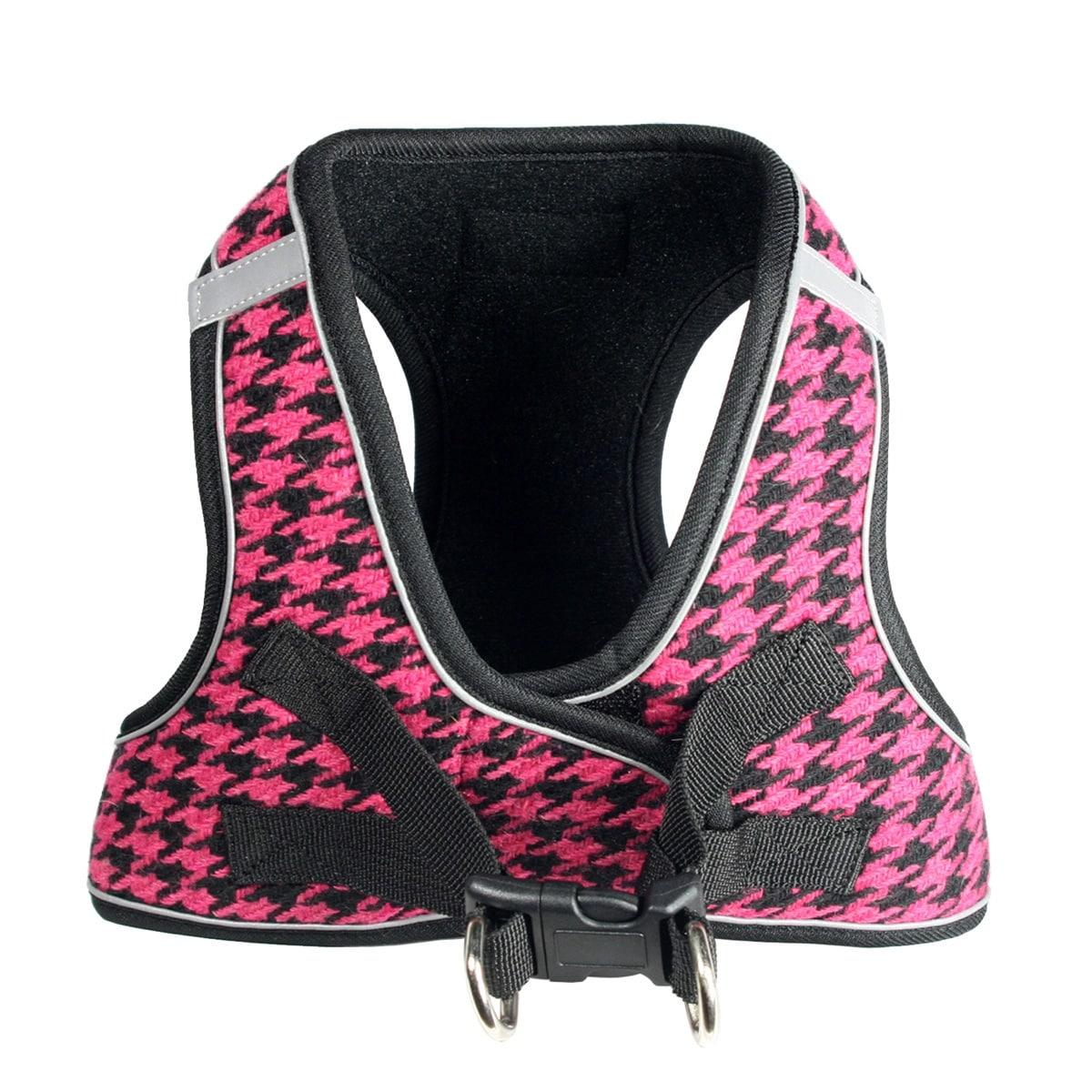 EZ Reflective Houndstooth Dog Harness Vest by Hip Doggie - Pink/Black (Pink/Black - Medium)
