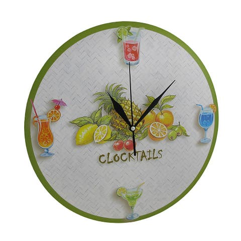 Round Tropical `Clocktails` Wall Clock 12 In. - 12 X 12 X 1 inches