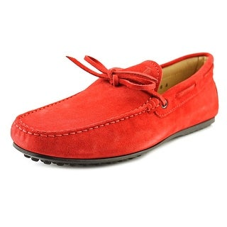 Tod's Laccetto City Gommino Men A Square Toe Suede Red Loafer