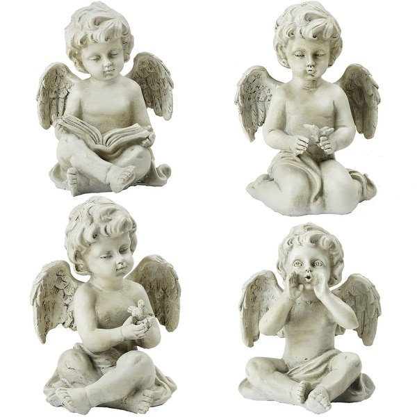 "Set of 4 Gray Cherub Angel Outdoor Garden Statues 6.5"" - N/A"