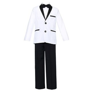 Little Boys White Black 4 Pcs Shirt Bow Pants Jacket Slim Fit Tuxedo 2-7