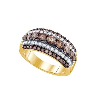 10k Yellow Gold Cognac-brown Colored Round Diamond Womens Fancy Cocktail Luxury Ring 1.55 Cttw - Brown/White