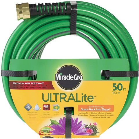 "Miracle-Gro CMGUL12050CC Ultra-Light Water Hose, 1/2"" x 50'"