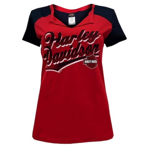 Harley-Davidson Women's H-D Script Folded Notched Colorblocked Tee - Red & Black