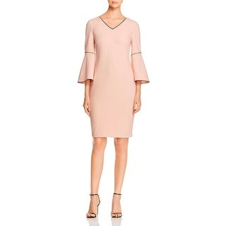 Calvin Klein Womens Wear to Work Dress Contrast Trim V-Neck