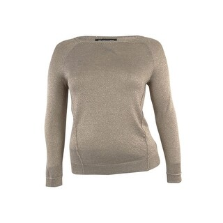 INC International Concepts Women's Crewneck Metallic Sweater - Mouse - pxs