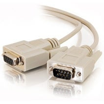 Serial DB9 Cable, Male to Female Extension, 1 ft.