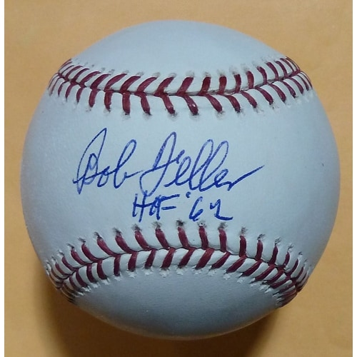 Bob Feller Autographed MLB Baseball Cleveland Indians wHO F62