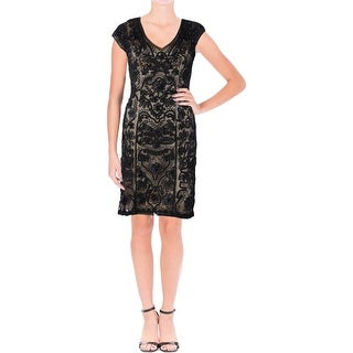 Sue Wong Womens Cocktail Dress Cap Sleeves Party