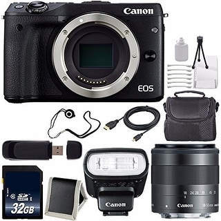 Canon EOS M3 Mark III 24.2 Mp Mirrorless Camera (International Model) (Black) + EF-M 22mm f/2 Lens Saver Bundle