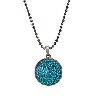 Crystaluxe Circle Pendant with Indicolite Swarovski Crystals in Sterling Silver - Blue
