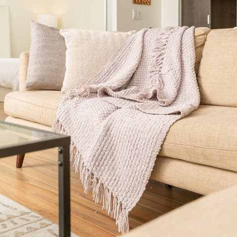 Fabstyles Chenille Basket Weave Polyester Throw Blanket
