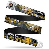 Power Rangers Logo Full Color White Ranger Action Poses Logo Skyline Black Seatbelt Belt
