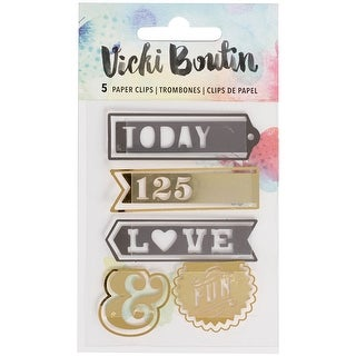 Vicki Boutin Mixed Media Paperclips 5/Pkg-Words W/Gold Foil