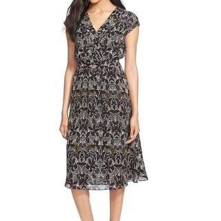 Classiques Entier NEW Black Women's Size 6 Print Faux-Wrap Dress Silk $288 #464