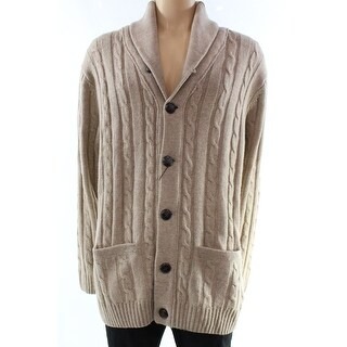 Gant NEW Beige Camel Mens Size 3XL Cardigan Lambs Wool Sweater