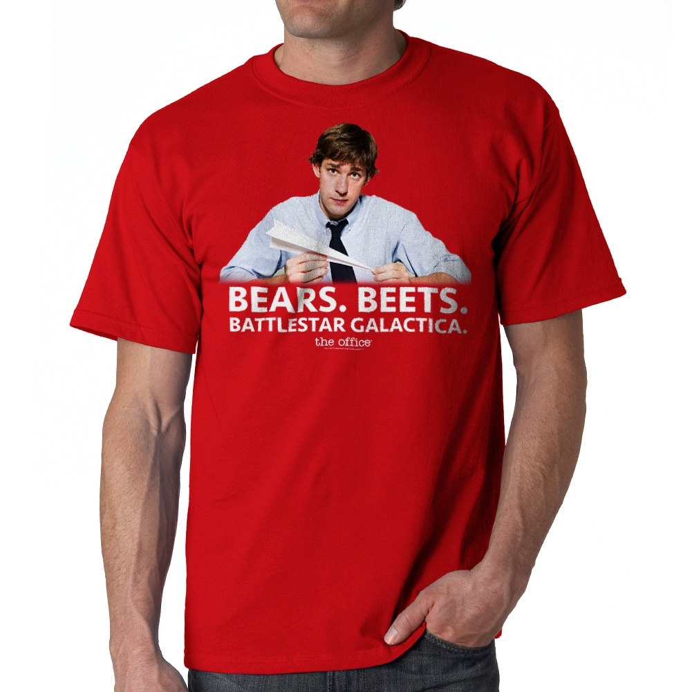 14891a736 Shop The Office Bears Beets Battlestar Galactica Jim Halpert Quote Men's  Red T-shirt - On Sale - Free Shipping On Orders Over $45 - Overstock -  19855537